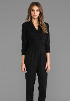 LINE & DOT Double Breasted Jumpsuit in Black - Line & Dot