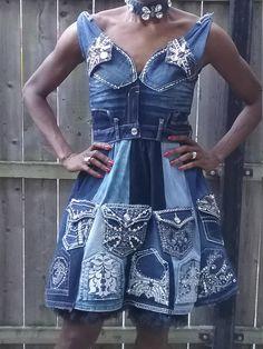 Denim recyclé & diamant agrémentée robe bleu jean