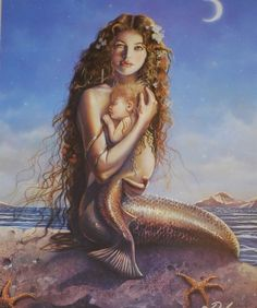 Mermaid And Child By David Delamare 11 x 14 Matted Art Print~ Merbaby Seascape