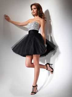 A-line Sweetheart Sequin Short Black Homecoming Dress Robes Bal De Promo,  Robes De 0e71cb488d97
