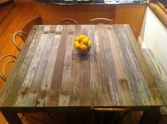 Recycled timber dining table. Like the idea of a coffee table like this for the deck...