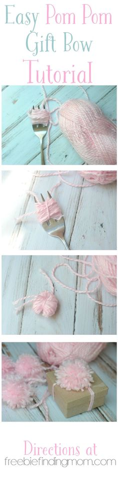 "Easy Pom Pom Gift Bow Tutorial: Gift ""trimmings"" like wrapping paper, tissue paper, boxes, fancy ribbons and bows, etc. can all add up fast. Make your own gift bows to save money and add a personal touch to any gift."