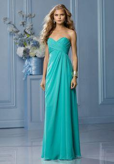 Chiffon Strapless Sweetheart Column Long Bridesmaid Dress only $200 brideskisses.com