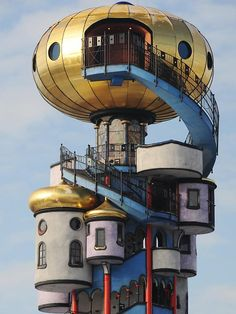 The Kuchlbauer Tower (2007-2010), Abensberg, Lower Bavaria, Germany - designed by Friedensreich Hundertwasser - the tower was erected  after Hundertwasser's death  with architect Peter Pelikan.