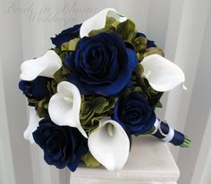 Sage green navy Wedding bouquet Navy blue by BrideinBloomWeddings