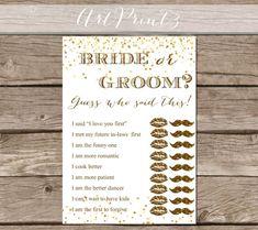 Bride Or Groom Bridal Shower Printable Game, Gold Confetti Bridal Shower Game Printable, Bride and Groom Game