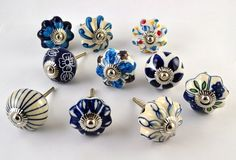 Blue and white hand painted ceramic pumpkin knobs cabinet drawer handles pulls