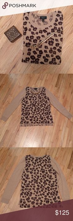 Leopard Print Cashmere Sweater Show off your style with this new long sleeve Charter Club cashmere sweater. Never worn. Hip length. Print is only on the front and back of the sweater. The sleeves are a solid tan. Great for a night on the town with the girls or a cozy night in. 100% cashmere. Charter Club Sweaters Crew & Scoop Necks