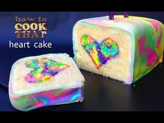 rainbow cake, this rainbow tie-dyed heart surprise inside cake is bright, fun and easy to make. Cake Pops, Köstliche Desserts, Chocolate Desserts, Rainbow Food, Rainbow Heart, Surprise Inside Cake, Tie Dye Cakes, Cake Tutorial, Creative Cakes