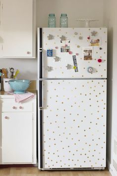 DIY Polka Dot Fridge Using Contact Paper.