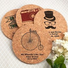 Eco-friendly round cork coaster wedding favors personalized with vintage designs and custom text