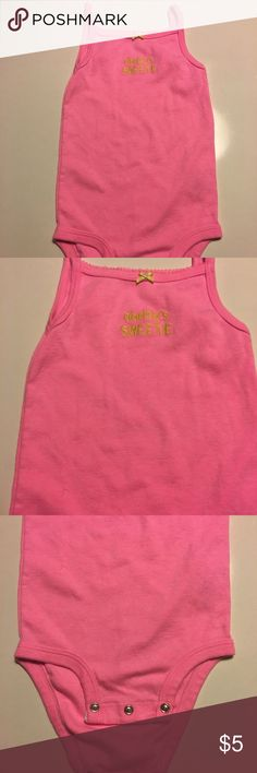 "Carter's bodysuit Pink spaghetti strap onesie says ""daddy's sweetie"" in yellow. Gently worn, good condition Carter's One Pieces Bodysuits"