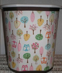 fabric covered trash can