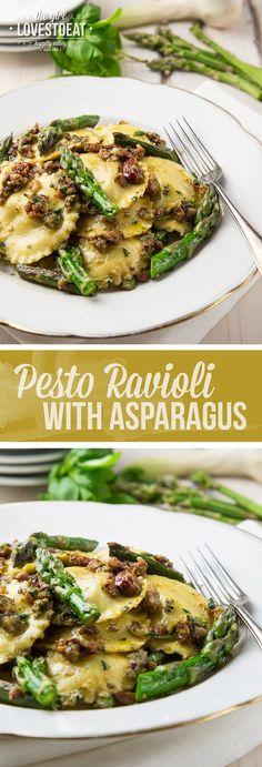 Pesto ravioli with asparagus { thegirllovestoeat.com }