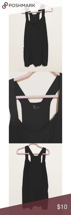 Gap body tank Long black tank with adjustable waist!  Super cute with leggings, light weight sweat fabric GAP Tops Tank Tops