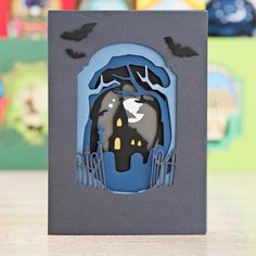 Perfect card for Halloween! Made using the @docrafts Countryside and Spooky Xcut Shadow Die Collections: http://www.createandcraft.tv/pp/docrafts-xcut-shadow-box-die-collection---countryside-spooky-349918?p=1 #cardmaking #papercraft