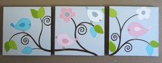 This is a set of 3 adorable acrylic canvas paintings that are made to order. These brighter birds are very similar to my best selling Happy Birds (https://www.etsy.com/listing/65158834/nursery-art-happy-birds-set-of-3) but now come in new brighter colors on a lovely light gray
