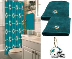 [[start tab]] Description The licensed Miami Dolphins NFL Deluxe Bath Set let's you show your team spirit even while you're in the shower and provides you with the complete look! This Set includes the