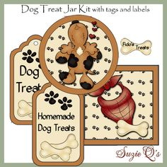 Make your own Dog Treat Jar - Labels and Tags - Digital Printable Kit - Great Gift Idea. $2.00, via Etsy.