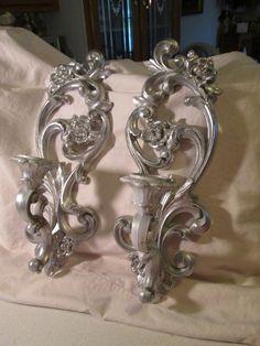 Vintage Homco Candle Sconces Roses Shabby Ornate Chic Silver Refurbished   eBay