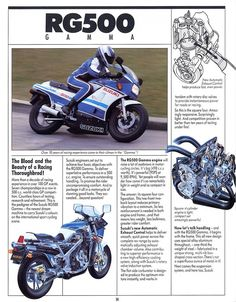 In 1985 you could down to your local suzuki motorcycle dealer and buy a GP style race bike. The 1985 RG 500 Gamma was suzuki's production race bike and it was a one of a kind water cooled, 2 …