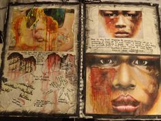Art Sketchbook Ideas: Creative Examples to Inspire High School Students Great use of experimental techniques on this sketchbook page. The more experiments you do the better! A Level Art Sketchbook, Sketchbook Layout, Artist Sketchbook, Sketchbook Pages, Sketchbook Ideas, Inspiration Art, Sketchbook Inspiration, Artist Research Page, Moleskine