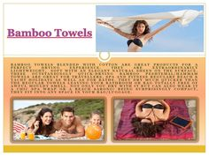 Click this site http://www.cottonandolive.com/product-category/bamboo-towels/ for more information on Bamboo Towels. Using bath tub towels to embellish your restroom is often something folks do not think about, yet it can actually fix up the overall appearance. Gone are the days of just hanging the Bamboo Towels you use on the towel rack - today's towels, when utilized correctly, could add appeal to any bathroom.