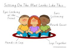 How To Sit On The Mat. A poster for educational settings, that shows what is expected of children when they are asked to sit on the mat. It is especially good for children with Autism, as it provides a clear illustration of what each part of their body should be doing at that time. FREE Download.