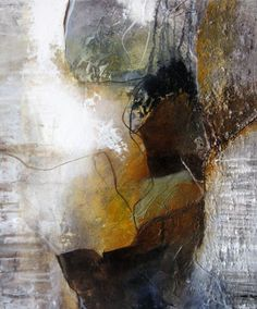 Medium abstract painting, brown, white, abstract, experimental work, landscape, landscape, structures, by Beate Frieling
