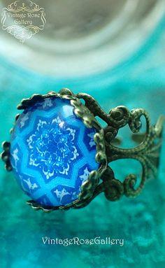 IBIZA RING #VintageRoseGallery #etsy  Ring, Blue Hippie Bohemian Ring, Mediterranean Boho  Ring, Blue Ceramic Pattern  by VintageRoseGallery