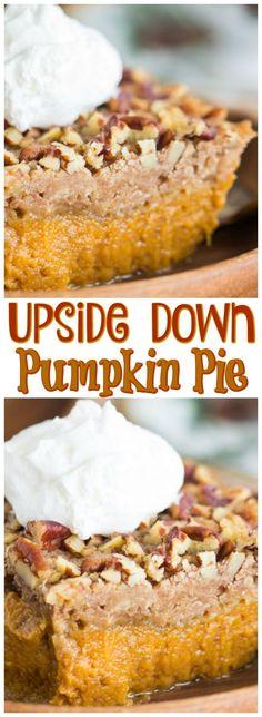 Upside Down Pumpkin Cake – The Gold Lining Girl Upside Down Pumpkin Pie recipe image thegoldlininggirl… pin 2 Pumpkin Deserts, Pumpkin Pie Cupcakes, Pumpkin Pecan Pie, Pumpkin Squash, Pumpkin Pie Recipes, Baked Pumpkin, Pumpkin Spice, Köstliche Desserts, Delicious Desserts