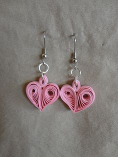 Pink Heart Earrings in Quilled paper.