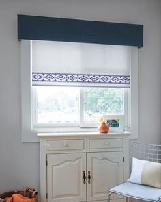 Kid's room with Classic Roller Shades with Ikat Border BO/ Navy topped with Tailored Cornice and custom pillows from S&N Smith And Noble, Budget Blinds, Valance Curtains, Cornice, Custom Window Treatments, Custom Windows, Other Rooms, Windows And Doors, The Help