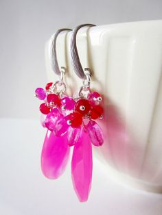 Hot pink chalcedony teardrop cluster dangle by LittleBearsMom, $50.00