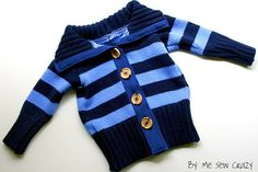Adult sweater refashioned into a child's sweater - tutorial