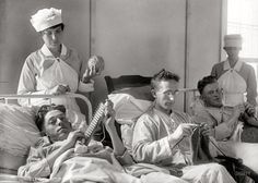 In 1918, all hospitalized men were forced to knit scarves and accessories for the nurses to give as Christmas presents... --I don't know who wrote this caption but it cracks me up!!!!--L.C.
