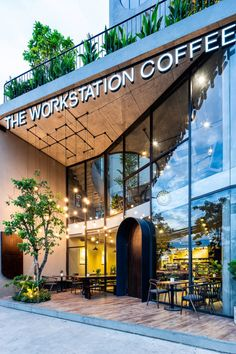 restaurant fachada Nhng ng cong mm mi kt ni khng gian ca The Workstation Coffee . : restaurant fachada Nhng ng cong mm mi kt ni khng gian ca The Workstation Coffee Outdoor Design shop fronts Spa Exterior, Design Exterior, Building Exterior, Building Facade, Facade Design, Building Design, Building Elevation, Door Design, Metal Facade