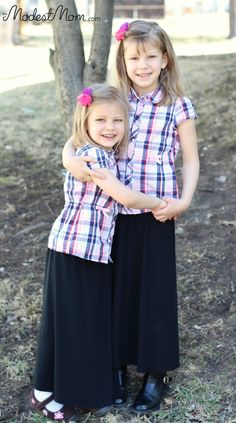 Matching Girl outfits, maxi skirts with Gymboree button up shirts for Modest Monday outfit!