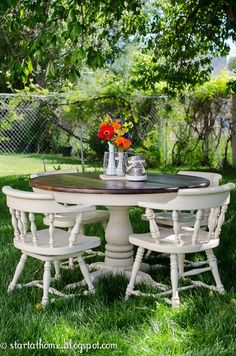 Refinished Pedestal Table and chairs make a lovely outdoor country setting for friends or family.
