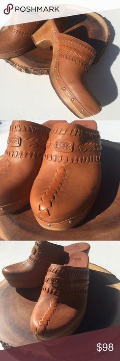 Uggs Wooden Retro Fur lined studded platform Clogs Fur at the front to keep your toes cozy! Very clean and bright! UGG Shoes Mules & Clogs