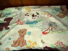 Pound Puppies Vintage 80's Dog Flat Sheet Collectible Linen Fabric Kids Bedding