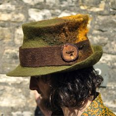MADE to ORDER - Magic felt hat - Hand felted natural wool hand dyed  teeswater curls 6ca8acbf3efc