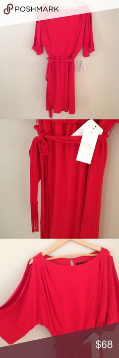 """NWTJessica Simpson2 available Beautiful cold shoulder fringe belted dressShoulder to hem approx 36""""95% polyester 5% spandexSexy with class  Perfect year round dress ~ pair with your best sandals, heels, or boots for any occasion Fabulous holiday dress NWT~reasonable offers welcome Jessica Simpson Dresses"""