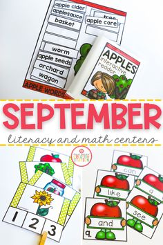 Start the school year off with these fun, September themed literacy centers. These centers will provide plenty of time for your learners to learn sight words, vocabulary words, rhyming and much more! #literacyactivities #kindergartenliteracy #preschoolliteracy