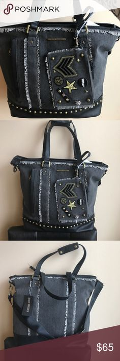 Steve Madden Tote & Wristlet Absolutely trendy Tote & Wristlet by Steve Madden . Lots of room great for school or to carry to work . Wristlet is detachable and has cute embellishments . Tote has top zip closure . Also comes with long strap . Steve Madden Bags Totes