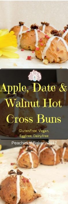 Light & fluffy Apple Date & Walnut Hot Cross Buns (Glutenfree, Vegan & CitrusFree) are perfect for celebrating a with the whole family! Delicious Vegan Recipes, Gluten Free Recipes, Keto Recipes, Hot Cross Buns, Easter Recipes, Apple Recipes, Bread Recipes, Easter Treats, Easter Food