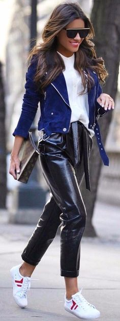 street style wearing leather