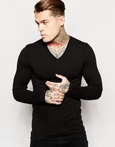 ASOS Extreme Muscle Fit Long Sleeve T-Shirt With V Neck And Stretch