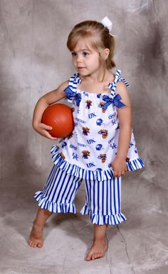 Kentucky Wildcat Girls Ruffled Top with Capris by TaviRaine, $42.00