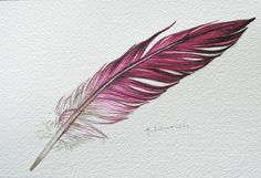 Pink feather original watercolor feather by jodyvanB on Etsy Watercolor Tattoo Feather, Feather Drawing, Feather Art, Feather Tattoos, Body Art Tattoos, Small Tattoos, Art Alevel, Bottle Tattoo, Zentangle